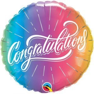 18 inch Congratulations - Ombre Rainbow Balloon