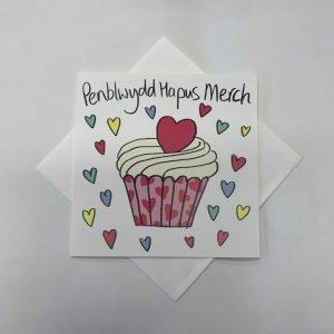 Penblwydd Hapus Merch Cupcake Card