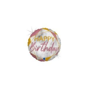 18 inch Happy Birthday Balloon Pink Marble