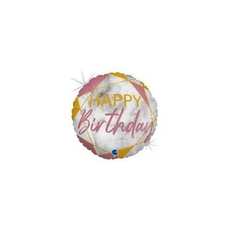 18 inch Happy Birthday Balloon Pink Marble