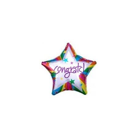 18 inch Congratulations - Congrats Rainbow Star Balloon