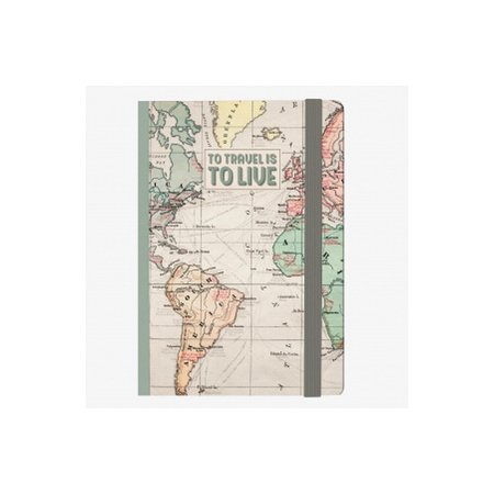Legami Small Lined Notebook - To Travel Is To Live (Map)