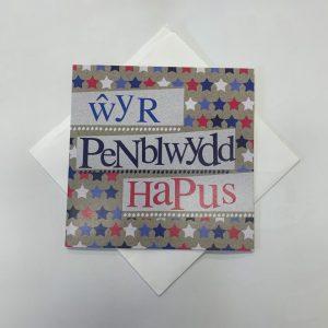 Wyr Penblwydd Hapus Red and Blue Stars Card