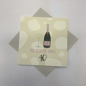 Penblwydd Hapus 40 Pink Fizz Square Card