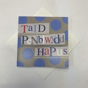 Taid Penblwydd Hapus Blue Spots Card