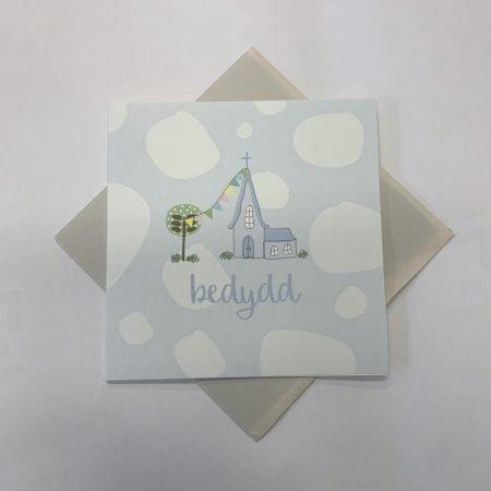 Bedydd Blue Church With Bunting Card
