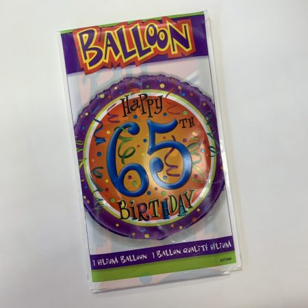 18 inch Age 65 Orange & Purple Balloon