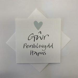 Gwr Penblwydd Hapus Pale Blue Heart Card