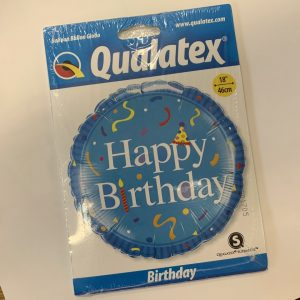 18 inch Happy Birthday Balloon Blue Party Hat