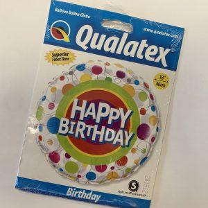 18 inch Happy Birthday Balloon Multi-Coloured Circles