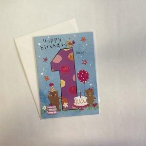 Happy Birthday 1 Today Teddy Bears Pink Card