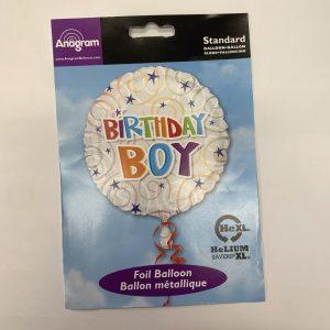 18 inch Balloon Birthday Boy White with Blue Stars