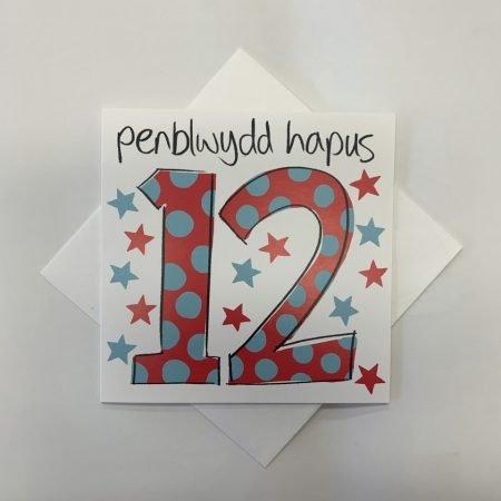 Penblwydd Hapus 12 Red & Blue Stars & Spots Card