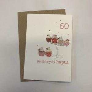 Penblwydd Hapus 60 Pink Cupcakes Card