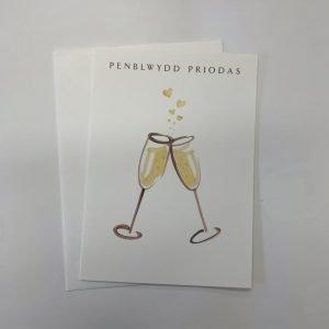 Penblwydd Priodas Champagne Glass Card