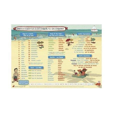 Educational Learning Mat A4 Spanish Calendar