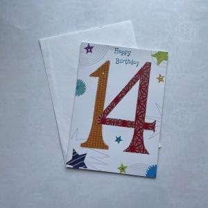Happy Birthday 14 Orange & Red Age Card