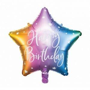 15 inch Happy Birthday Ombre Rainbow Star Balloon