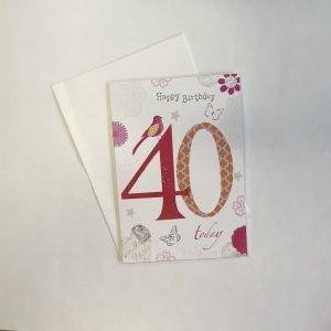Happy Birthday 40 Today Age Card