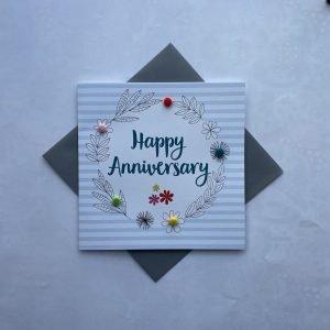 Happy Anniversary Blue and White Stripes Pom Pom Card