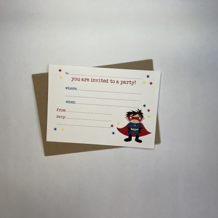 Pack of 6 Party Invitations - Superhero