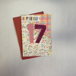 Happy Birthday 17 Pink Floral Card
