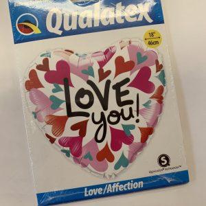 18 inch Heart Balloon - Love You Pink Hearts