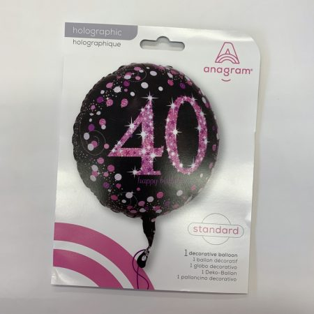 18 inch Age 40 Black and Pink Fizz Balloon