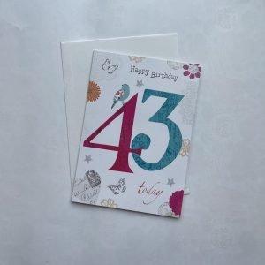 Happy Birthday 43 Today Age Card