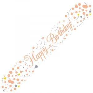 White & Rose Gold Sparkling Fizz Banner - Happy Birthday