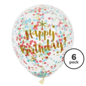 Confetti Filled Latex Balloon - Pack of 6