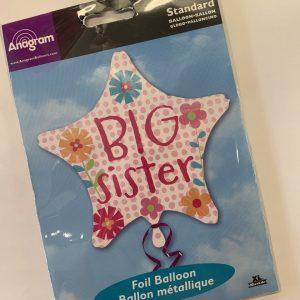 18 inch New Baby - Big Sister Pink Star Balloon
